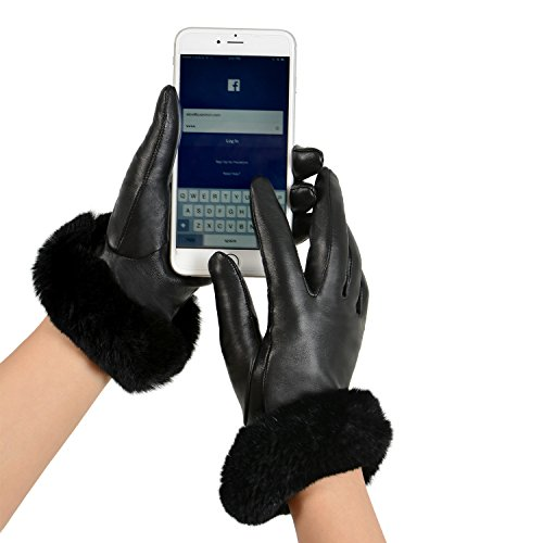 GSG Womens Hi-tech Touchscreen Italian Nappa Leather Driving Gloves Ladies Genuine Rex Rabbit Fur Gloves M Black-HI by GSG (Image #2)