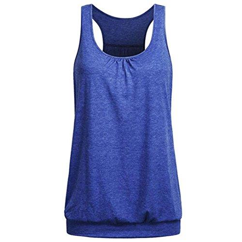 iTLOTL Womens Sleeveless Round Neck Wrinkled Loose Racerback Workout Tank Top Blouse(US:8/CN:M, Dark Blue)