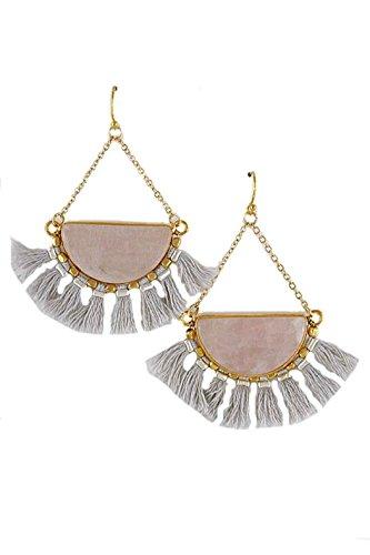 Half Moon Dangle (Violet & Virtue Women's Half Moon Stone Dangle Multi-color Tassel Earring (Grey))