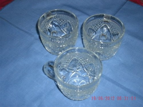 Luminarc by J.G. Durand 3 Glass Cups Antique Pattern