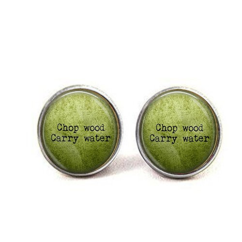 stap Zen QuoteChop Wood Carry Water earrings - Buddha Quote Jewelry - Spiritual Jewelry - Buddha earrings - Meaning of Life ()