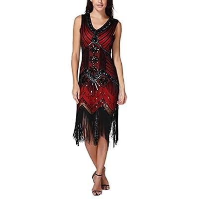E-Scenery Women's V-Neck Tassel Sequin Dress Art Nouveau Embellished Fringed Flapper Dresses