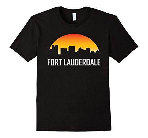 Mens Fort Lauderdale Florida Sunset Skyline Silhouette T-Shirt 3XL - Fit Lauderdale The Fort Shop
