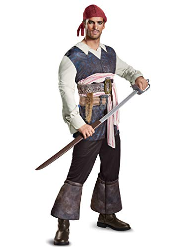 Disney Men's Plus Size POTC5 Captain Jack Sparrow Classic Adult Costume, Brown, X-Large