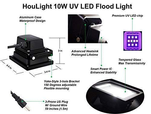UV LED Black Light, HouLight High Power 10W Ultra Violet UV LED Flood Light IP65-Waterproof (85V-265V AC) for Blacklight Party Supplies, Neon Glow, Glow in The Dark, Fishing, Aquarium, Curing by HouLight (Image #6)