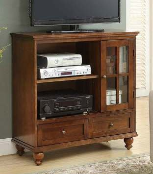 Premium TV Stands Table Cabinet-Brown Wood Glass Door Highboy for up to 60 Inch Display Your TV in Style