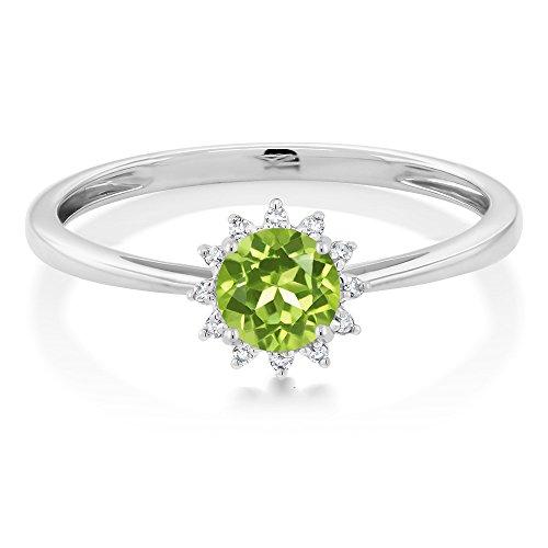 10K White Gold 0 50 Ct Round Green Peridot Diamond Ring – Red