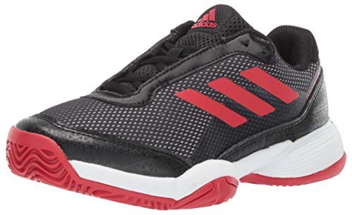 adidas Unisex Barricade Club Xj Tennis Shoe, Black/Scarlet/White, 2 M US Big Kid