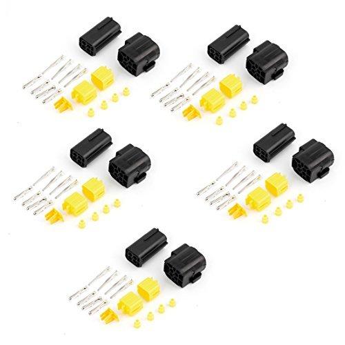 - eDealMax 5 Set 4 Conector Camino Pin impermeable Cuatro Para el coche