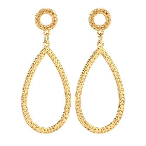 - BaubleStar Textured Teardrop Earrings Gold Hammered Tear Drop Dangle Round Hollow Circle Ear Studs Simple Fashion Jewelry for Women Girls
