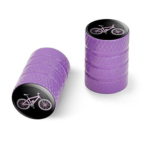 オートバイ自転車バイクタイヤリムホイールアルミバルブステムキャップ - パープルピンクペダルマウンテンバイク自転車