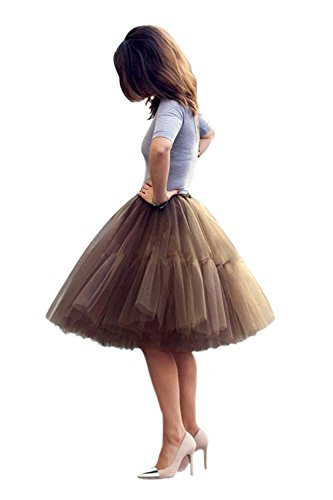 Women Aline Knee Length 50s Vintage Rockabilly Tulle Prom Slip Tutu Skirt Brown One Size -