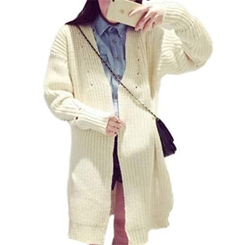 Festiva Giovane Lunga Autunno Moda Primaverile Cerimonia Colore A Cardigan Donna Vintage Beige Giaccone Maglia Outerwear Manica Plus Prodotto Cappotto Elegante Puro taFxP