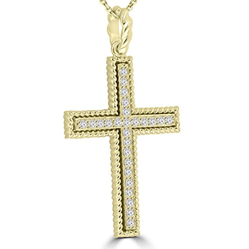 0.45 ct Ladies Round Cut Diamond Cross Pendant Necklace (G Color SI-1 Clarity) in 14 kt Yellow Gold by Madina Jewelry (Image #1)