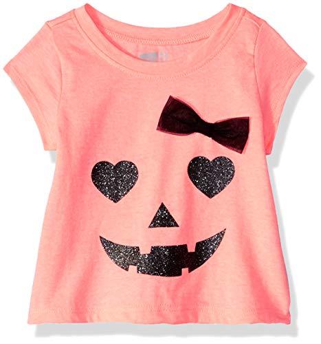 Crazy 8 Girls' Toddler Halloween Graphic Tee, neon Orange Glow, 6-12 mo -