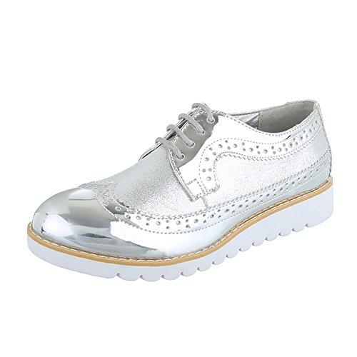 Ital-Design Zapatos Planos con Cordones Mujer, Color Blanco, Talla 39