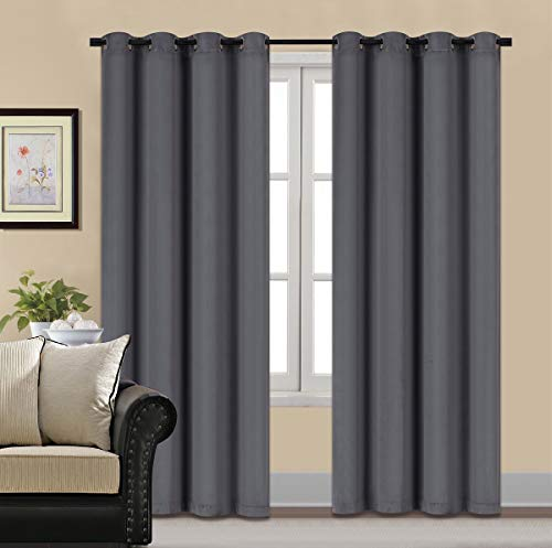 HCILY Blackout Velvet Curtains Gray 96 Inch Thermal Insulated for Bedroom 2 Panels (W52'' x L96'', Grey)