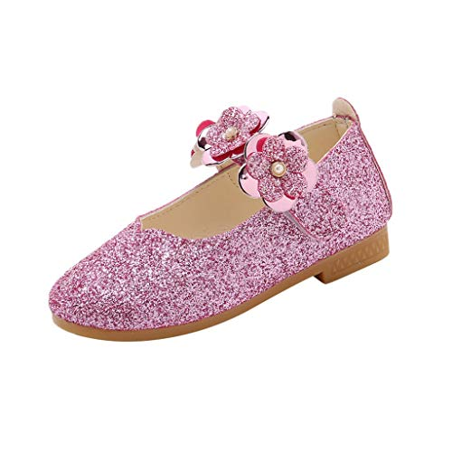 Kids Baby Girls Little Girl's Adorable Flower Sparkle Mary Jane Princess Party Dress Shoes Casual Single Shoes Pink