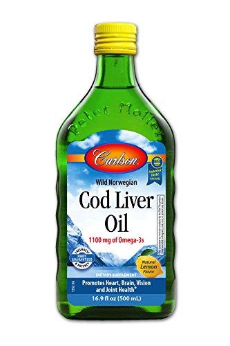Carlson Cod Liver Oil, Lemon, 1,100 mg Omega-3s, 500 mL (Cold Pressed Cod Liver Oil)