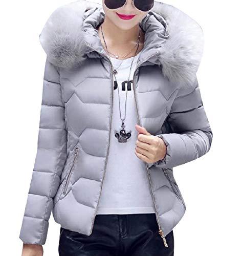 EnergyWomen Warm Short Thickened Hoode Cotton Plus Size Coat Jacket Grey