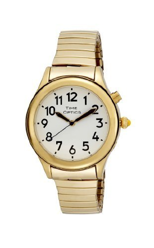 TimeOptics Women's Talking Gold-Tone Day Date Alarm Expansion Bracelet Watch # GWC08GT