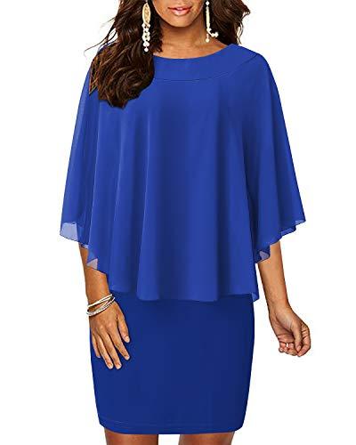 Chiffon Ruffle Dress Neck (AUTCY Plus Size Dresses,Ladies Scoop Neck Ruffle Flattering Cape Sleeve Chiffon Dresses Wear to Work Sheath Dress Royal Blue S)