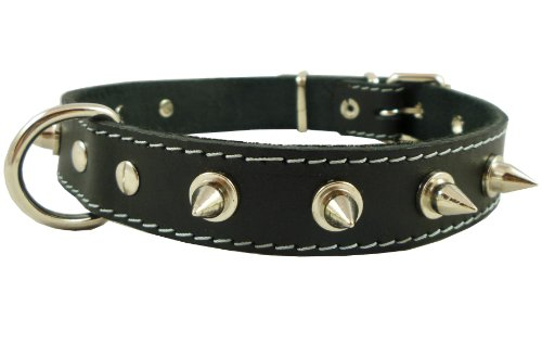 "Real Leather Black Spiked Dog Collar Spikes, 1"" Wide. Fits 14""-17"" Neck, Medium Breeds."