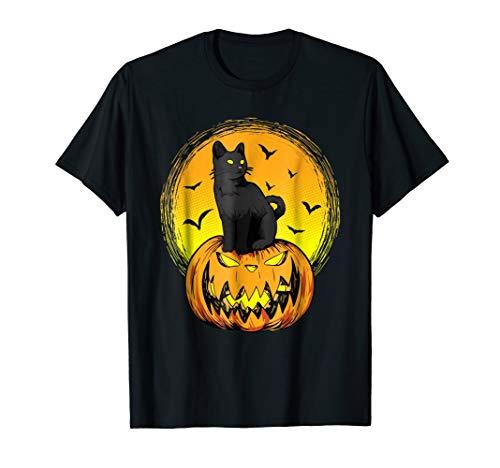 Halloween Black Cat Pumpkin Face Cool Gothic T -