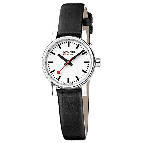 Mondaine Women's SBB Stainless Steel Swiss-Quartz Watch with Leather Calfskin Strap, Black, 13 (Model: MSE.26110.LB) ()