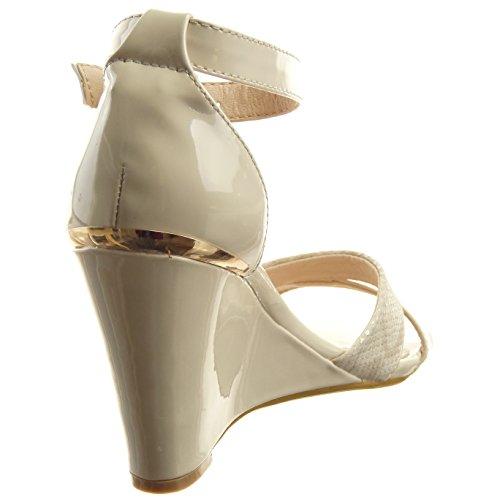 30%OFF Sopily - Chaussure Mode Sandale Escarpin Ouverte hauteur cheville femmes Brillant verni Peau de serpent Talon compensé 9.5 CM - Beige - CM-L-67 T 39