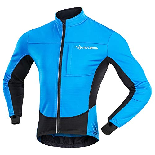 MUCUBAL Men's Cycling Jacket Windproof and Water-Resistant Coat Winter Thermal Breathable Bike Windbreaker(Blue,M) (Best Softshell Cycling Jacket)