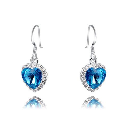 Price comparison product image Duo La Elegant Sterling Silver Heart-shape Blue Cubic Zirconia Lady Dangle Earrings