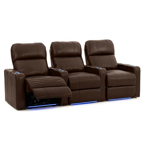 Octane Turbo XL700 Row of 3 Seats, Straight Row in Brown Leather with Power - Collection Theater Home Leather Brown