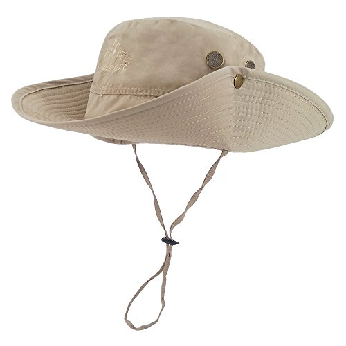 (LETHMIK Outdoor Waterproof Boonie Hat Wide Brim Breathable Hunting Fishing Safari Sun Hat Beige)