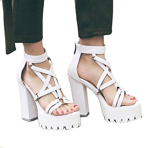 ENMAYER Femmes Blanc PU Matériel Platform Sandals Boucle Super High-Heel Punk Pumps EU 34