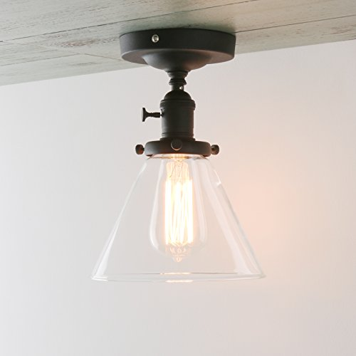 rial Semi Flush Mount Ceiling Light Fixture Pendant Lighting with Funnel Flared Clear Glass Shade (Black) (Clear Glass Ceiling Pendant Lamp)