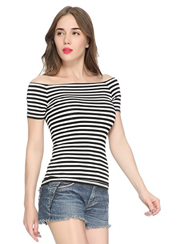 (Maggie Tang Trendy Fitted Off Shoulder Modal Blouse Top XL Black White)