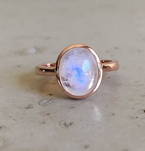 Amazon.com: Rose Gold Moonstone Ring- Oval Cabochon ...