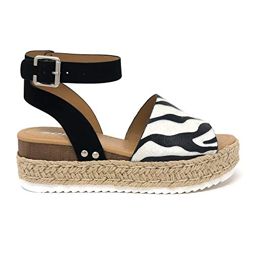 (SODA Topic Casual Espadrilles Trim Rubber Sole Flatform Studded Wedge Buckle Ankle Strap Open Toe Sandal (8.5 M US, Zebra)