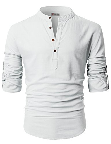 H2H Mens Casual Slim Fit Pull over Linen Henley Shirt WHITE US S/Asia M (CMTSTL0130)