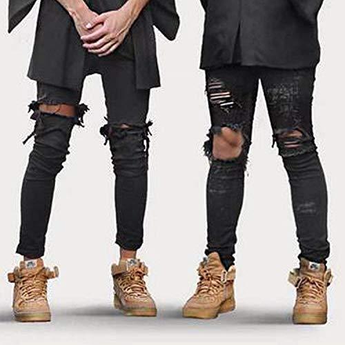 Look Fit Classiche Al Ginocchio Di Con Wear Slim Jeans Leggings Da Casual Nero Cher Ragazzi Street Fori Usati Pantaloni Uomo Distrutti Scarni qztzpwc6