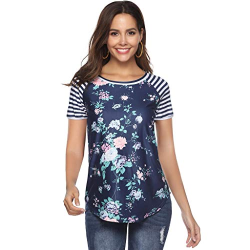 - TnaIolral Women Summer Tops Floral Print Stripe Short Sleeve Round Neck Blouse Navy