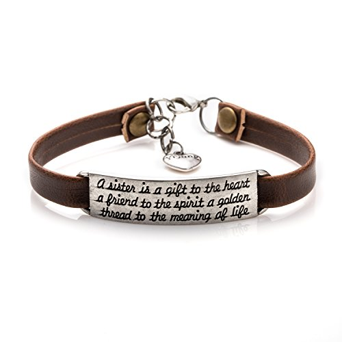 Soul Sister Gift Idea for Girls Leather Bracelets for Friends Vintage Inspirational Friendship Jewelry (Brown A Sister is A Gift)