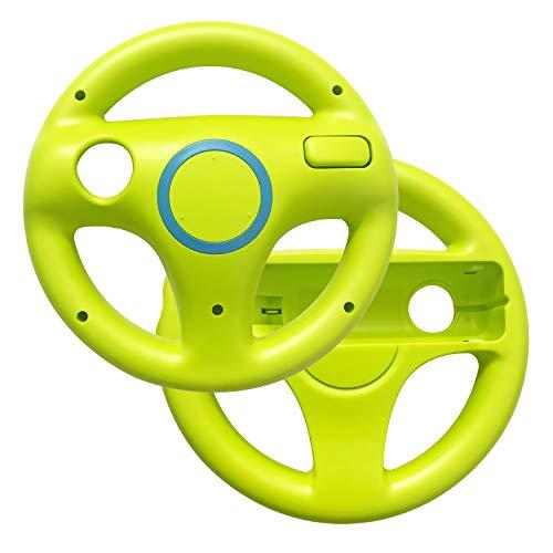 (AreMe 2 Pack Mario Kart Racing Steering Wheel for Nintendo Wii Remote Controller (Green))