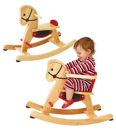 Grow-With-Me Wooden Rocking Horse with Removeable Safety Surround on the Seat