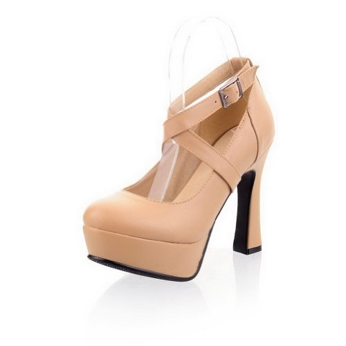 VogueZone009 Womans Closed Round Toe High Heel PU Soft Material Solid Pumps with Bandage, Apricot, 5.5 UK