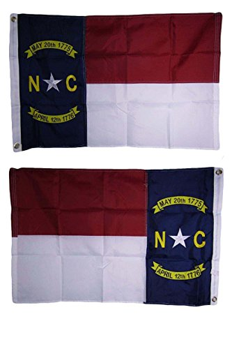 ALBATROS 2 ft x 3 ft Embroidered North Carolina Double Sided 210D Sewn Nylon Flag 2x3 2 Clips for Home and Parades, Official Party, All Weather Indoors -