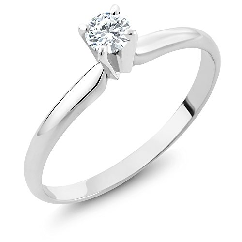 - Charles & Colvard Forever Classic 4mm Round 0.23cttw DEW White Created Moissanite Engagement Promise Solitaire Ring in 14K Solid White Gold (Size 8)