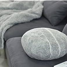 Natural Wool Gray Floor Poufs, Handmade Ottoman Foot Stool Ottoman Floor  Cushions.