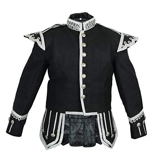 Black Fancy Doublet Jacket, Piper or Drummers Blazer, 1/2